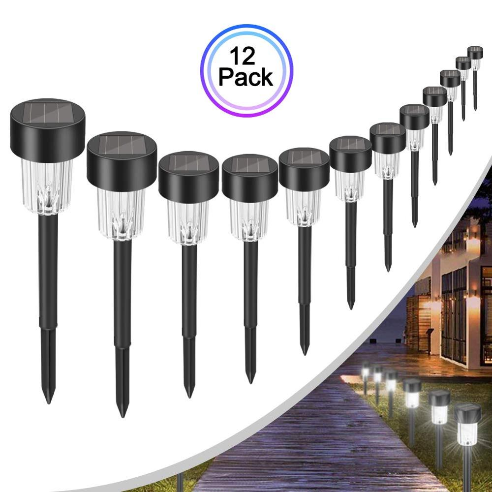 12 PCS Solar Pathway Lights Landscape Lights For Outdoor Patio Yard Deck Driveway And Garden