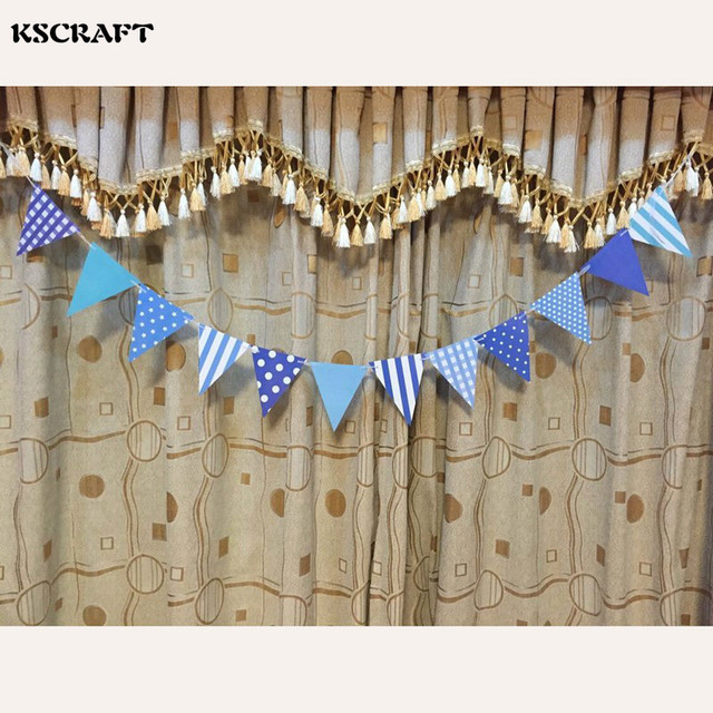 298 Kscraft Bleu Rose Joyeux Anniversaire Papier Fait Main Drapeaux Bunting Bannière Pour Enfants Fête Danniversaire Bébé Douche