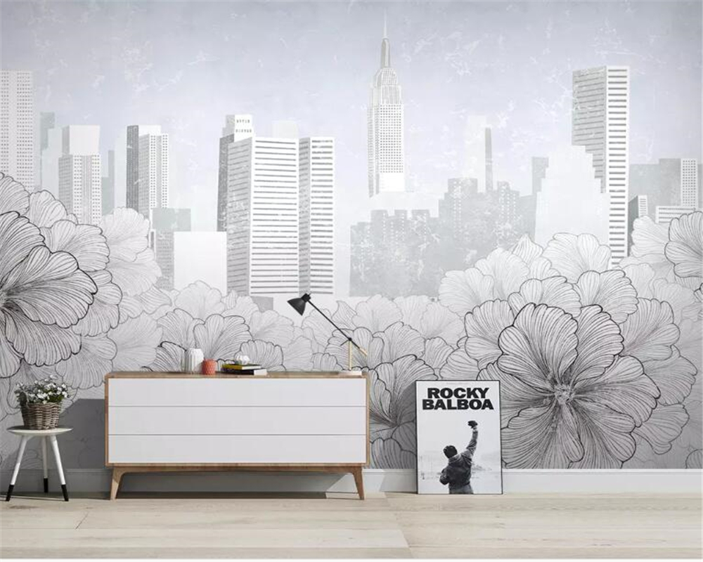 us 8 1 46 off beibehang customized 3d wallpaper modern black and white city line drawing floral city architecture tv background wall wallpaper in