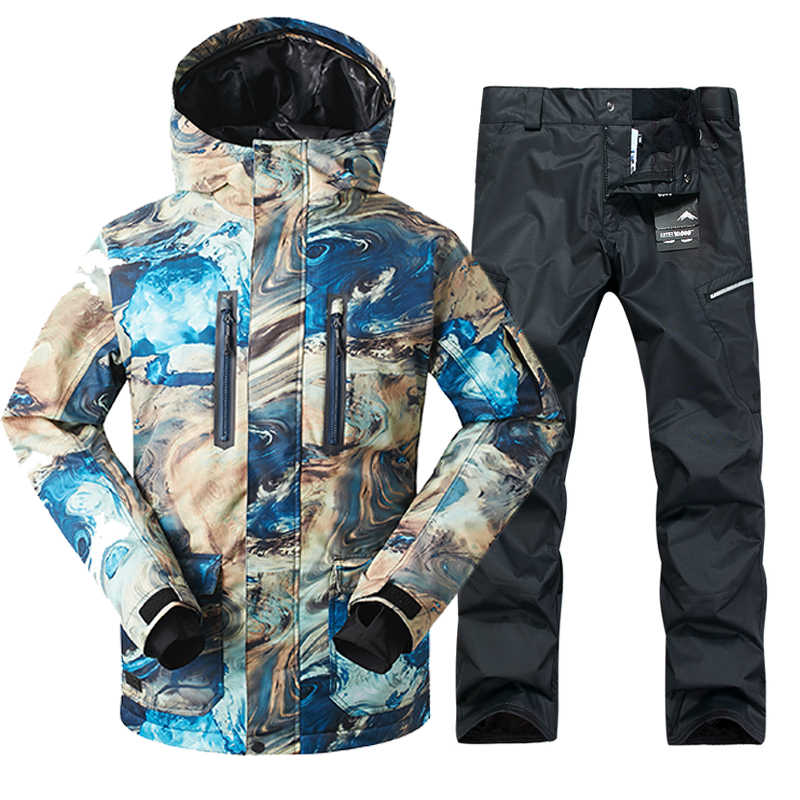 2019 GSOU SNOW Men Ski Suit Windproof Waterproof Outdoor Sport Wear Winter Jacket Pant Skiing Snowboard Clothing Trouser Suit