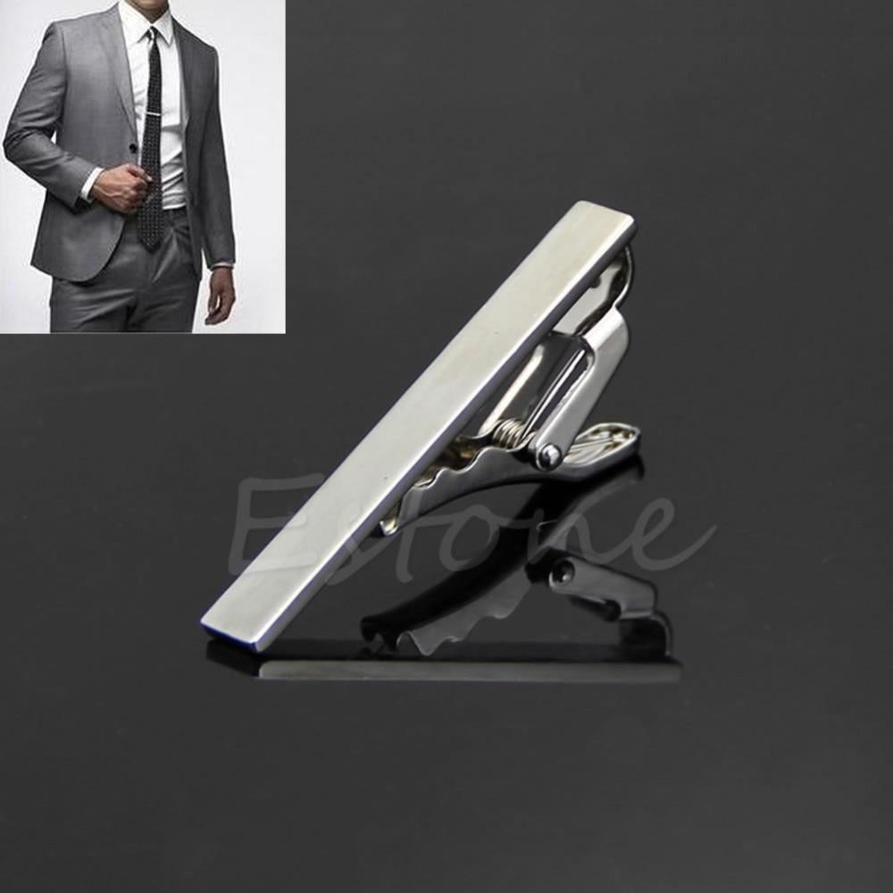 Wholesale Men Metal Silver Tone Simple Necktie Tie Bar Clasp Clip Clamp Pin