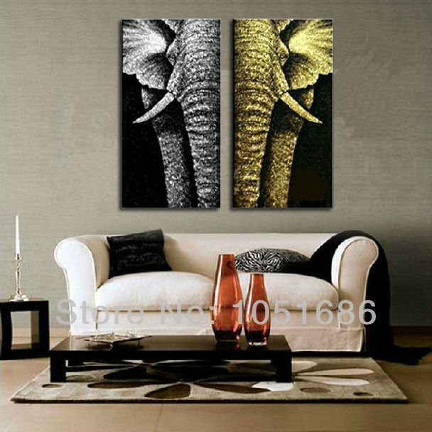 Hand Painted Two Piece Set Animal Pop Art Elephant