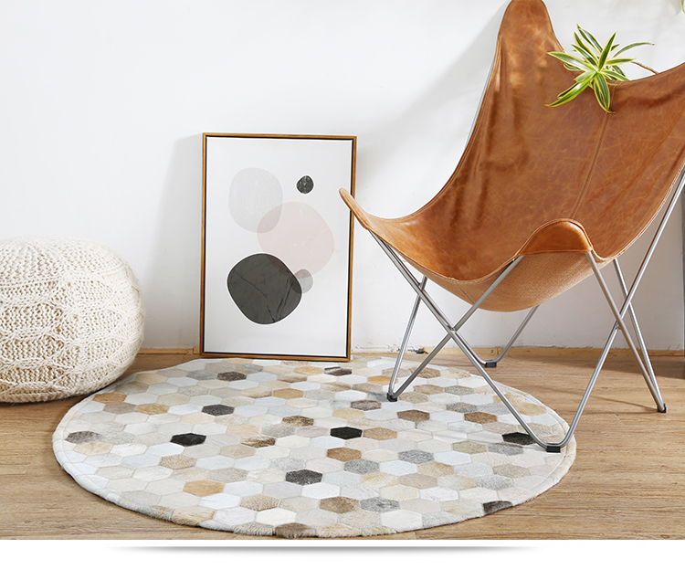 Tremendous Us 287 0 18 Off White And Black Handmade Cowhide Circular Carpet Kids Room Study Computer Chair Living Room Coffee Table Mat Bedroom Bedside Rug In Gmtry Best Dining Table And Chair Ideas Images Gmtryco