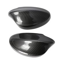 2Pcs Rearview Mirror Covers Side Mirror Cap Carbon Fiber Pattern ABS Shell For BMW E90/E91/330i/335i/2005-2008 carbon fiber add on style side wings mirror covers fit for bmw e92 328i 335i 2005 2008 rearview mirror caps car styling page 4