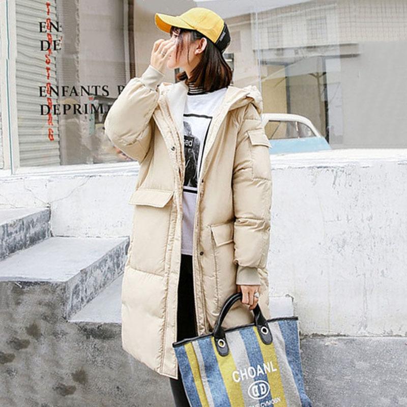 Yellow Black Loose Winter Jacket Women Plus Size Hoodies Thick Down Cotton Winter Coat Abrigo Mujer Warm Jacket Long   Parka   YH339