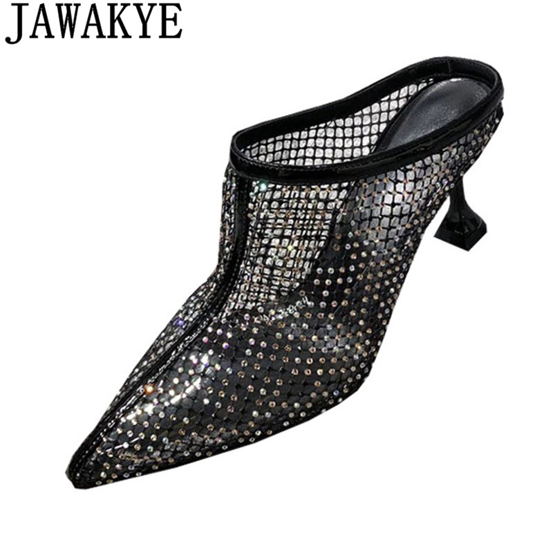 Bling bling Crystal studded high heel slippers women pointed toe air mesh sandals 2019 sexy runway