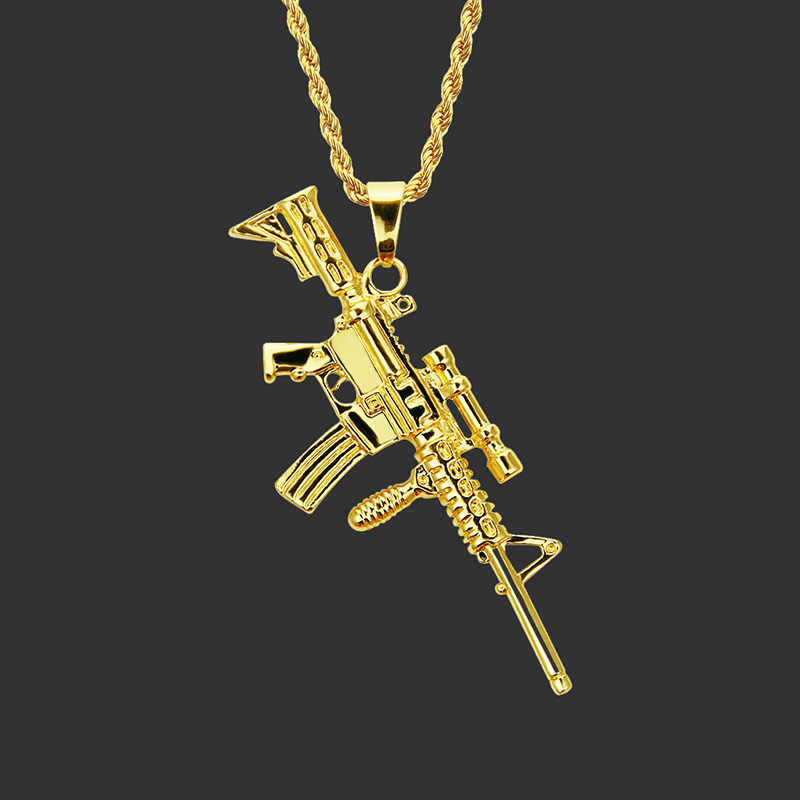 Newest 2019 Punk Style Personalized M4A1 Gun Pendant Necklaces Women Men Hip Hop Jewelry Steampunk Long Chain Gold Necklace Gift