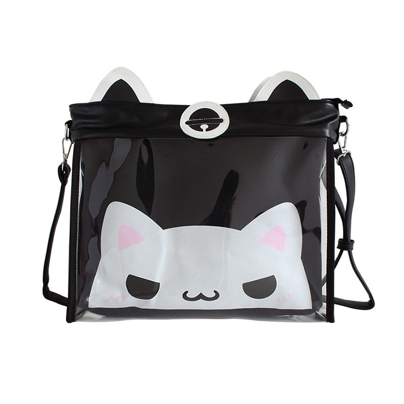 Women's Japanese JK School Uniform Cute Cat Print Transparent Handbag Korean Lolita Cat Ears Shoulder Bag Cosplay Canvas Bags