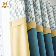 New Modern Minimalist Mosaic Mediterranean Blue Blue And Yellow Hit Curtains Custom Living Room Study White T(China)