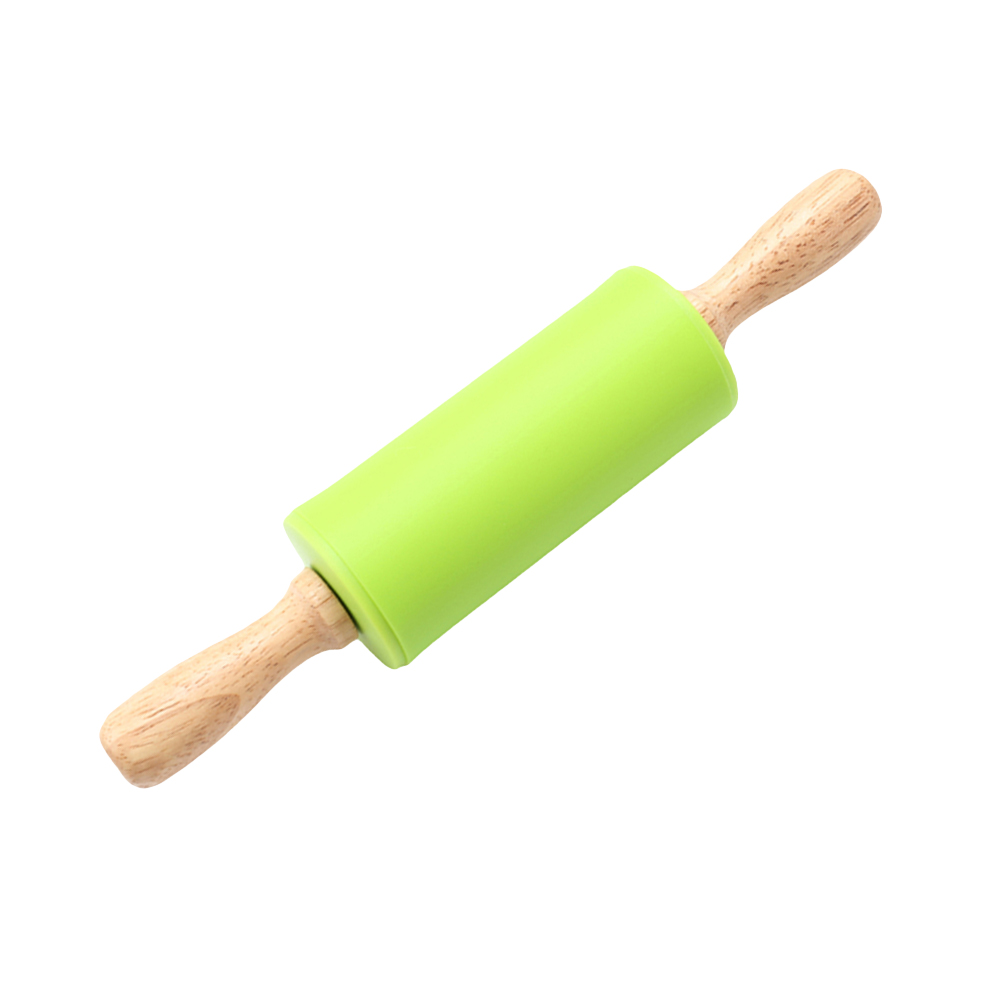 Wooden Handle Rolling Pin Non-Stick Silicone Pins Kitchen Accessory (Green)