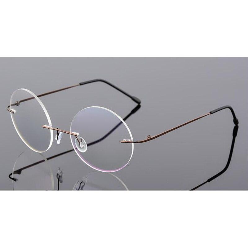 e9b91113b Flexível Peso leve Sem Aro de Titânio Miopia Vidros Ópticos Quadro Rodada  Óculos de Lente Clara Óculos Eyeswear Óculos de Armação em Armações de  óculos de ...