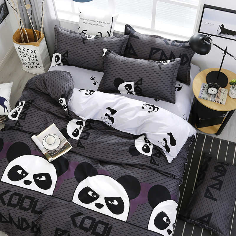 3/4pcs High Quality Cartoon Panda Printing Textile Bedding Set Include Duvet Cover&Sheets&Pillowcases Comfortable Home Bed Set