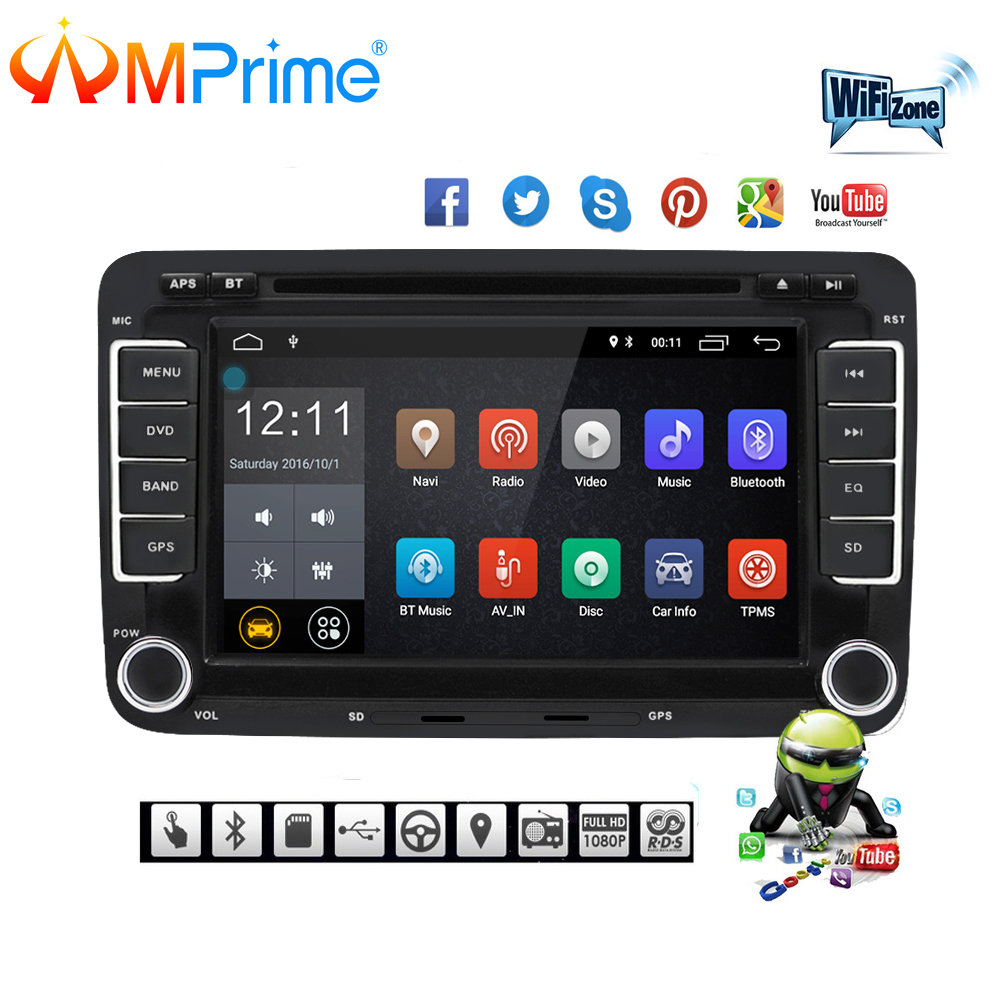 AMPrime автомобильный мультимедийный плеер Android 7 gps Авторадио 2 Din USB для Volkswagen/VW/Passat/POLO /GOLF/Skoda/Seat/леон радио Wi-Fi