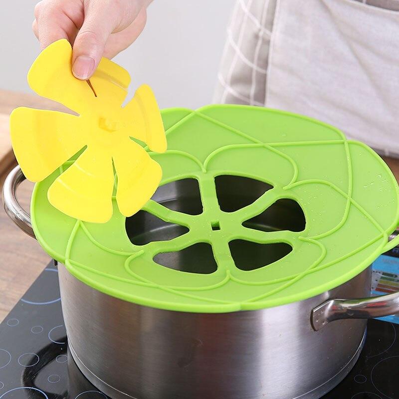 Küche Silikon Topf Deckel Anti-spill Deckel Küche Zubehör Kochen Werkzeuge Kreative Blütenblatt Topf Deckel Küche Haushalt Gadgets