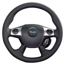 Microfiber leather Steering Wheel Cover for Ford Focus 3 2012-2014 KUGA Escape 2013-2016 car styling braid on the steering wheel