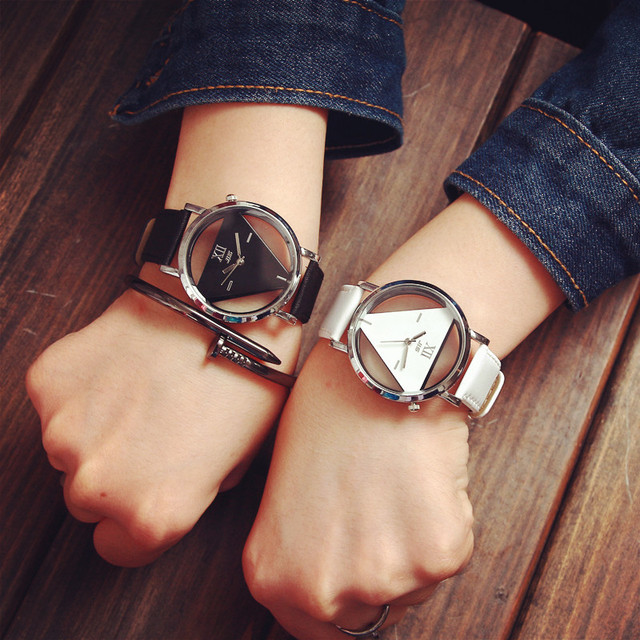Hot Sale Fashion Triangle Transparent Watch Women Watches Leather Strap Ladies Watches Women Clock Lady Hour relogio feminino