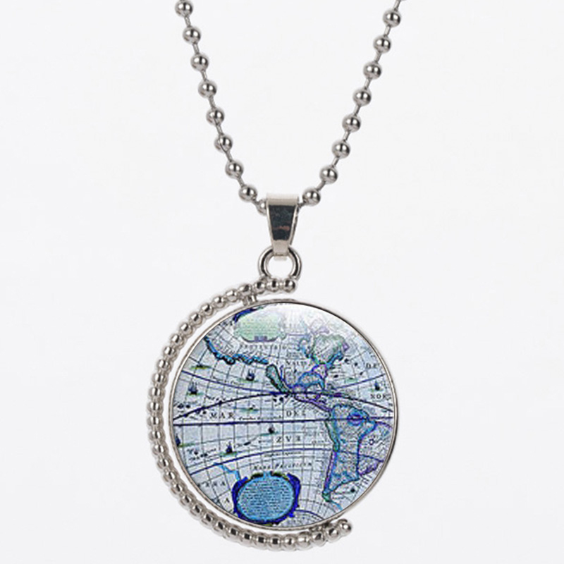 TB3 für NLNL himmel blau farbe karte welt 25mm größe anhänger 45 cm chian frauen halskette werden frauen geburtstag geschenk silber 925 schmuck