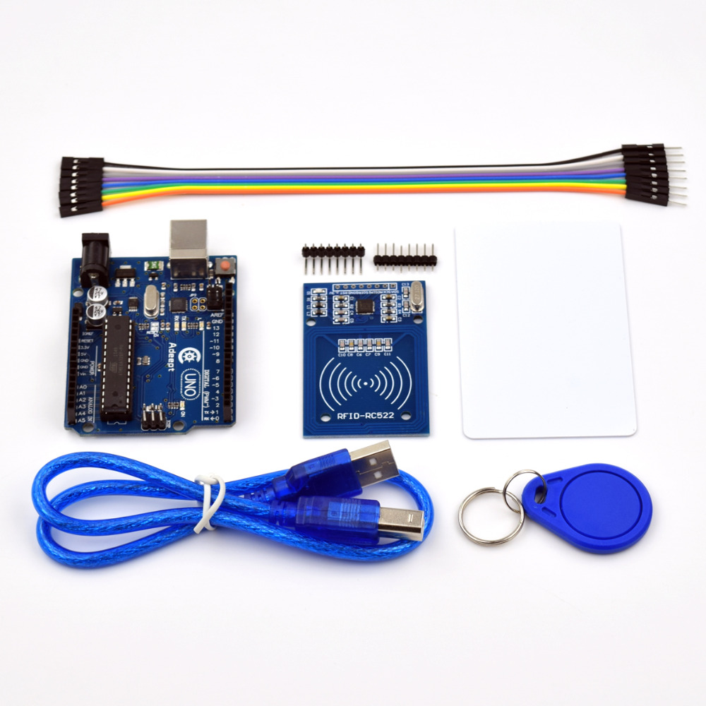 Adeept New Arduino UNO R3 with RC522 RFID Reader Kit user manual for Arduino Freeshipping diy diykit adeept diy electric new project lcd1602 starter kit for arduino uno r3 mega 2560 pdf free shipping book headphones diy diykit