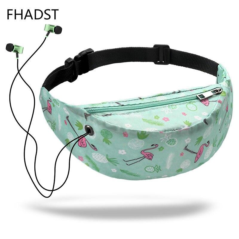 FHADST Printed Flamingo Women Casual Functional Fanny Bag Waist Bag Money Phone Belt Bag Pouch Bum Hip Shoulder Belt Packs