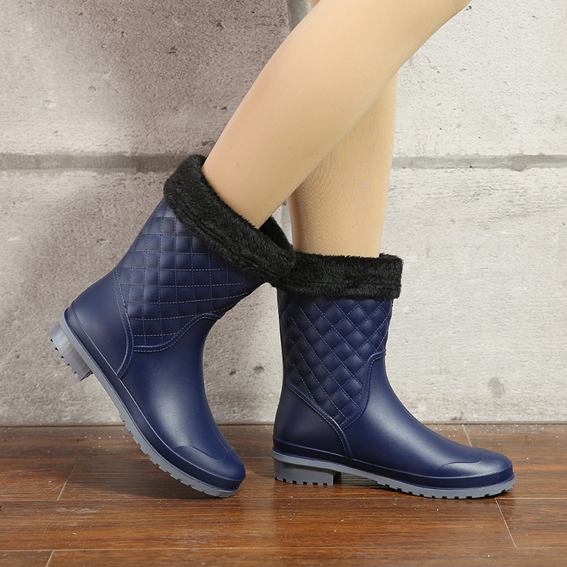 Fashion Women Mid Calf Boots Rubber Slip On Waterproof Women Rain Boots Casual Ladies Flats