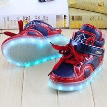 2016 Kids baby shoes boys sneakers baby boys girls LED shoes schoenen hook loop school superstar kids sapatos  luminous sneakers