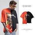 Preto de alta Qualidade Dos Homens/mulheres Soltas Primavera Verão Tide Marca Duas Cores Costura Impressão de Rock Metallica Homem de Manga Curta Camisa de T