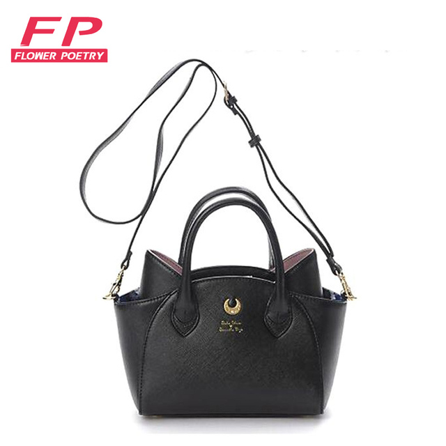 2016 White/Black Sailor Moon Luna/Artemis Shoulder Bag Ladies Luna Cat Leather Handbag Women Messenger Crossbody Chain Small Bag
