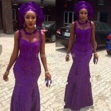 Nigerianischen Stil 2017 Afrikanische Abendkleider Abendkleider Lila Sheer Neck Aso Ebi Spitze Nixe-abschlussball