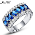 JUNXIN Fashion Women Men Jewelry White Gold Filled Ring 10KT Vintage Party Engagement Wedding Rings For Women RW0066