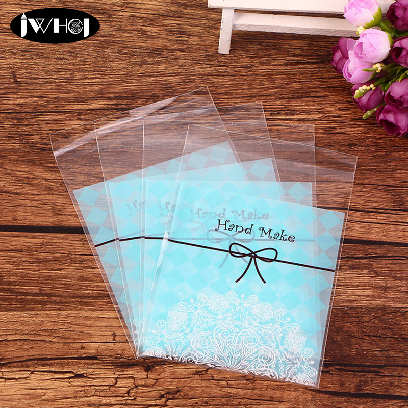 100pcs Cute Bowknot Grid Adhesive Bag Cookies Diy Gift Bags For Christmas Birthday Party Candy Food&Handmade Soap Packaging Bags