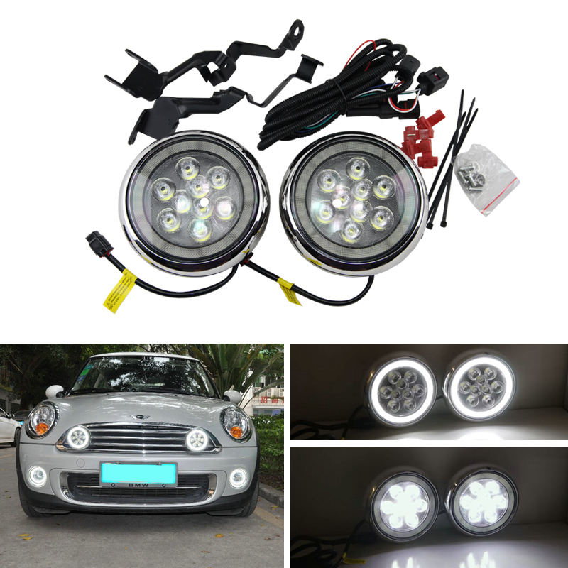 Front Bumper Led Halo Ring Rally DRL Daytime Driving Fog Lights For Mini Cooper R55 R56