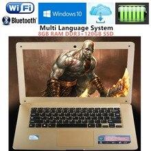 8GB RAM+120GB SSD 1920X1080P 14.1inch ultrabook laptop computer Intel N3520 Duadcore 2.16GHz WIFI Win10 laptop notebook Free DHL