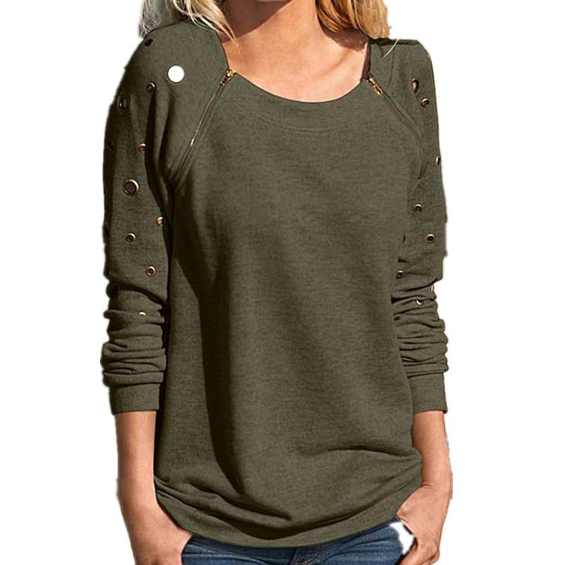 Preself Blouses Holes Patchwork O Neck Zipper Long Sleeve Sweatshirt Shirt Tops Women Fashion Gray Black