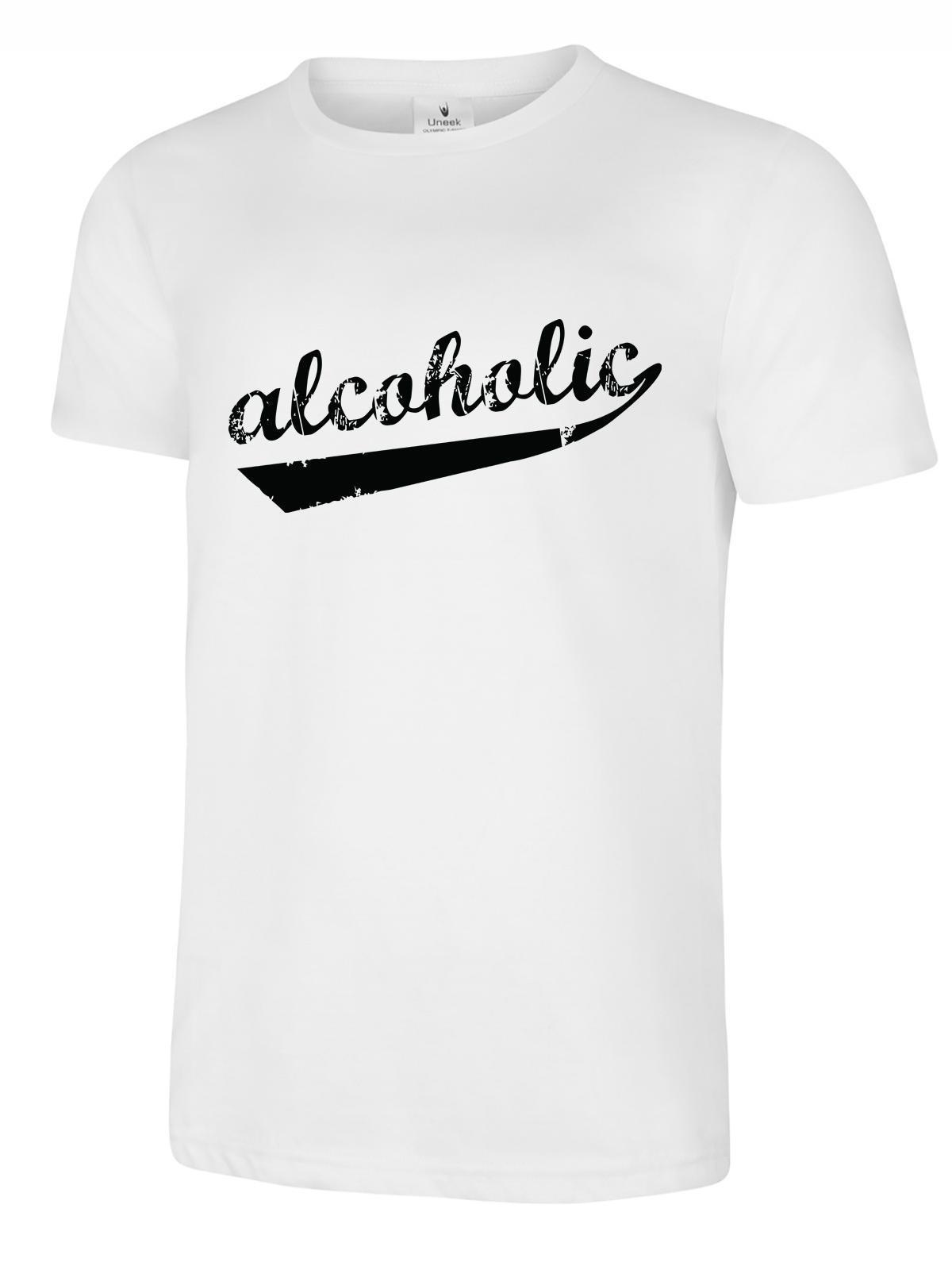 Alcoholic T-Shirt Mens Funny Beer Drinking Top Ale Pub Tee ALCOHOL Printed Round Men T shirt Cheap Price top tee image