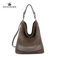 DAVIDJONES Women Fashion Serpentine Prints Leather Handbags Female Large Shoulder Bags Large Capacity Hobos Tote Bag