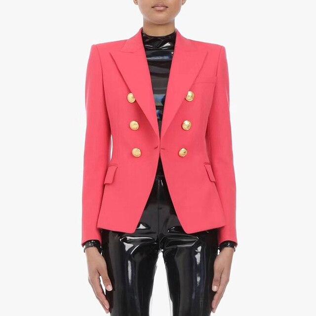 高品質最新 2020 デザイナーブレザー女性のダブルブレスト金属ライオンボタンスリムフィットブレザージャケットスイカ赤