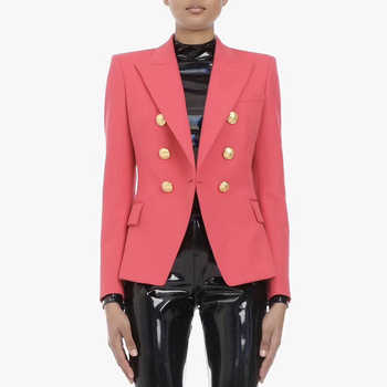 HIGH QUALITY Newest 2019 Designer Blazer Women's Double Breasted Metal Lion Buttons Slim Fitting Blazer Jacket Watermelon Red - DISCOUNT ITEM  20% OFF All Category