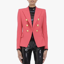 HIGH QUALITY Newest 2020 Designer Blazer Womens Double Breasted Metal Lion Buttons Slim Fitting Blazer Jacket Watermelon Red