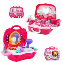 Accessory cabinet portable design dressing table toy brinquedo pretend play set dolls beauty toy for girls Include 21 pcs