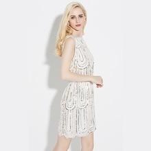 New Style Spring Summer Dress Women O-Neck Sleeveless Paillette Sequins Party Mini Dresses Femme Vintage Dress Slim Vestido