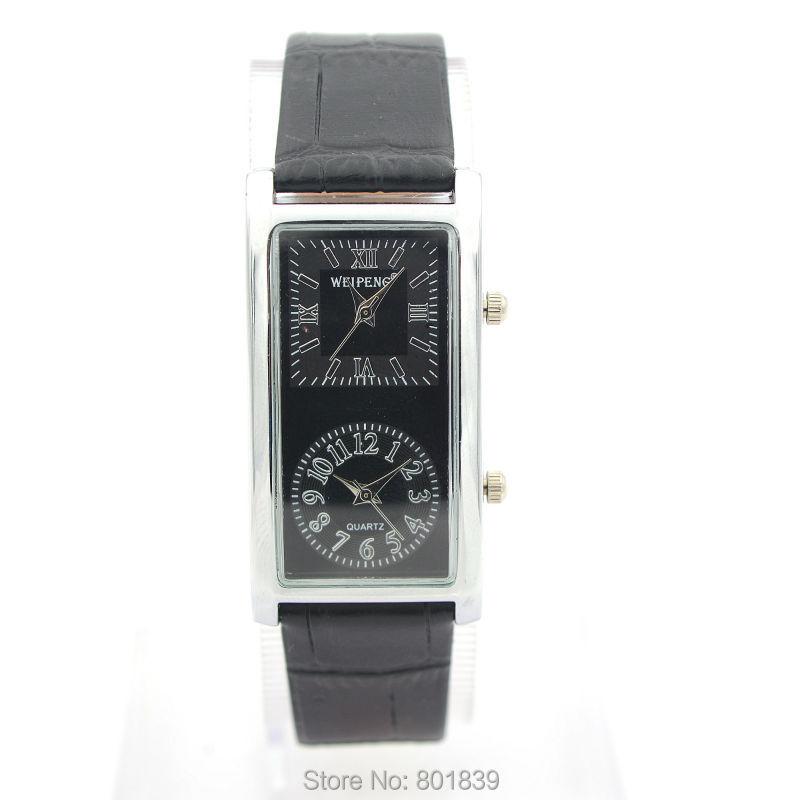 New 2 Dual Time Zone Quartz Black Faux Leather Women Wrist Watch Nice Gift Luxury Timepiece
