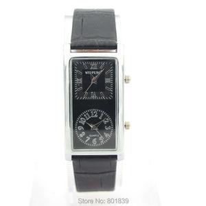 Novo 2 duplo fuso horário quartzo preto falso couro feminino relógio de pulso agradável presente relógio de luxo