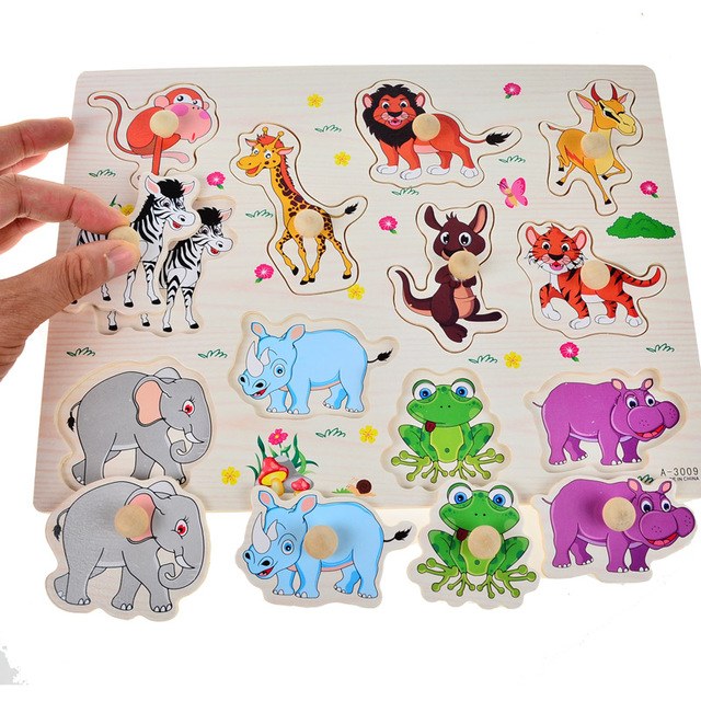 Kids Wooden Puzzles with Hand Grasps