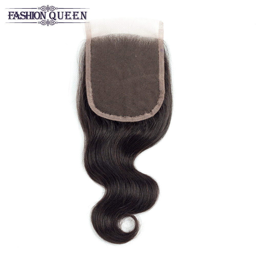 Fashion Queen Malaysian Human Straight Hair Weave Pre-Colored 4 Bundles with Lace Closure Natural Color Non-remy Free Shipping
