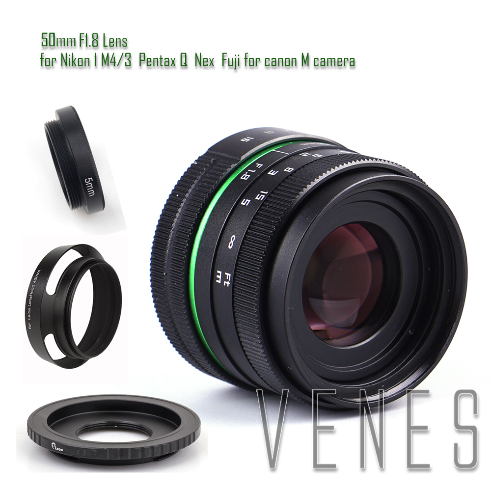 50mm f/1.8 APS-C Lens + Lens Hood + Macro Ring +16mm C Mount adapter for Nikon 1 / M4/3 /Pentax Q / Nex / Fuji/for canonM camera