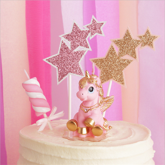 1pcs Pink Unicorn Candles Birthday Party Decorations Kids Wedding