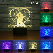 2019 New Valentine's Day Romantic Gift  3D Night Light LED Table Lamp Illusion  Light 7/16 Colors Changing Mood Lamp lover gift marvel superhero spiderman 3d table lamp optical illusion night light 7 colors changing mood lamp spider man lava lamp dropship