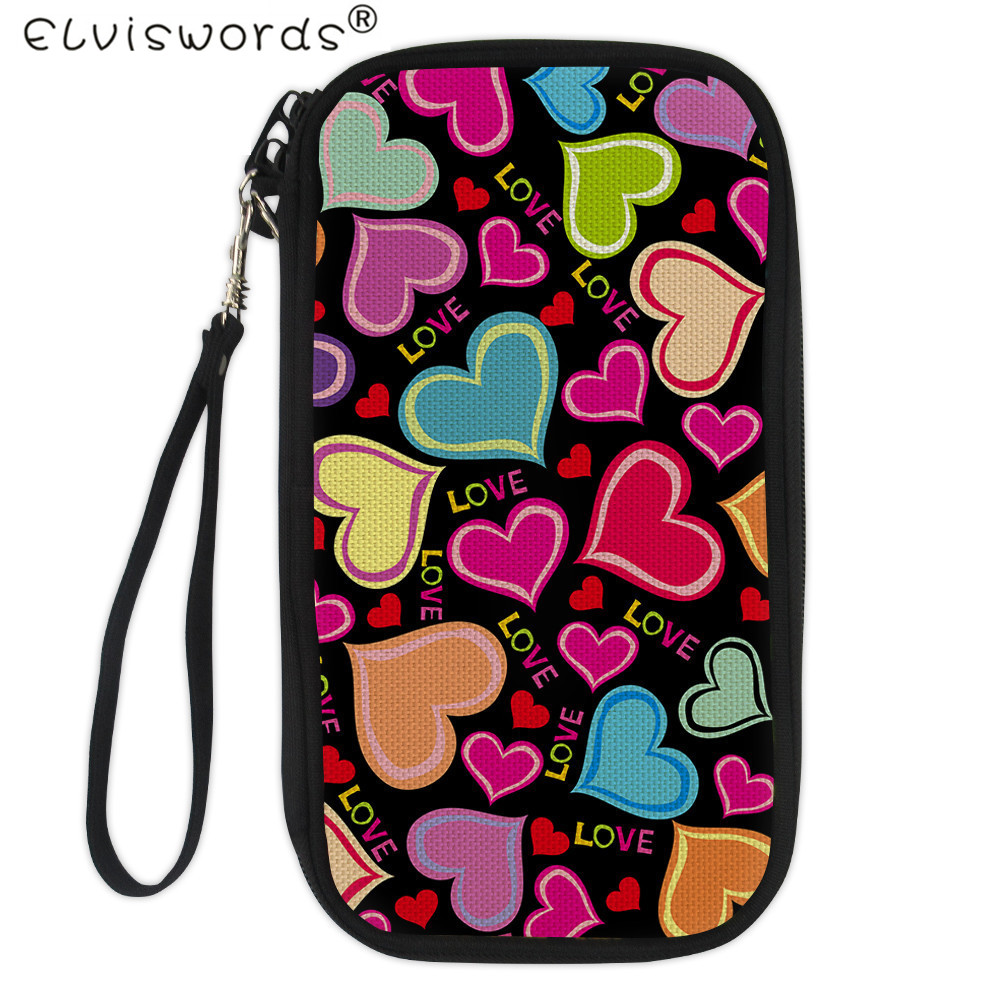 Persevering Elviswords Sweet Heart Print Passport Cover Bagwomens Female Long Clutch Wallets With Zipper Organizer Wallet Carteira Holder Factory Direct Selling Price Women's Bags