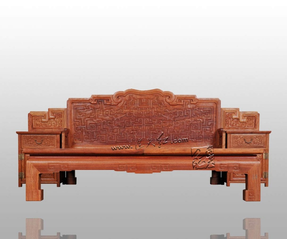 Full Bed Frames with back-rest and Nightstands King&Queen zize 2.1*1.8m Solid wood Rosewood bed base China Factory customizable
