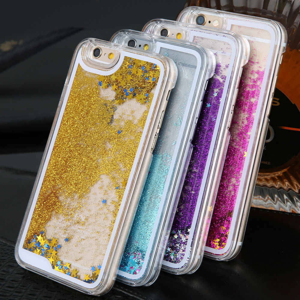 Liquid Water Case voor iPhone 7 Dynamische Quicksand Glitter Bling Soft TPU Case voor iPhone SE 5 5 s 6 s 7 8 Plus X 10 XS Gevallen Cover